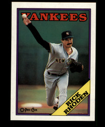 1988 RICK RHODEN OPC #185 O PEE CHEE BLACK ONLY BACK YANKEES #3650