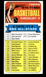 1970 CHECKLIST TOPPS #101 NBA EXMT #3771