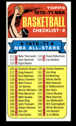 1970 CHECKLIST TOPPS #101 NBA NM - MARKED #3772