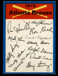 1973 ATLANTA BRAVES OPC TEAM CHECKLIST O PEE CHEE #3811