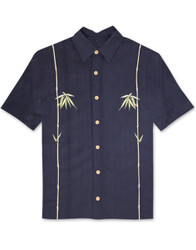 Dual Bamboo Embroidered Polynosic Camp Shirt by Bamboo Cay - WB601T - NAVY