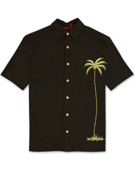 Single Palm Embroidered Polynosic Camp Shirt by Bamboo Cay - WB1003T - BLACK