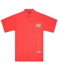 Single Palm Embroidered Polynosic Camp Shirt by Bamboo Cay -  WB1003T - TOMATO