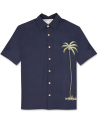 Single Palm Embroidered Polynosic Camp Shirt by Bamboo Cay - WB1003T - NAVY