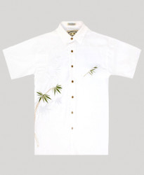 Flying Bamboo Embroidered Polynosic Shirt by Bamboo Cay -  WB2006D - Off White