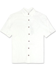 Island Leaf Nation Embroidered Polynosic Camp Shirt by Bamboo Cay - Off Wht WB7000B