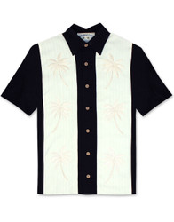 Paneled Palms Embroidered Polynosic Camp Shirt by Bamboo Cay - Black WB2002RE