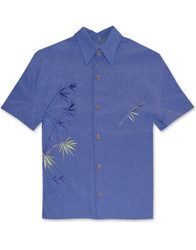 Flying Bamboo Embroidered Polynosic Camp Shirt by Bamboo Cay - Infra Blue WB2006D