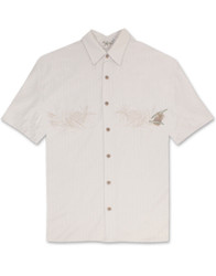Lonely Pineapple Embroidered Polynosic Camp Shirt by Bamboo Cay - Cream WBS800