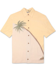 Hurricane Palm Embroidered Polynosic Camp Shirt by Bamboo Cay - Banana WB80R