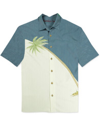 Hurricane Palm Embroidered Polynosic Camp Shirt by Bamboo Cay - Infra Blue WB80R