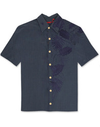 Island Leaf Nation Embroidered Polynosic Camp Shirt by Bamboo Cay - Navy WB7000B