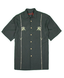 Dual Bamboo Embroidered Polynosic Camp Shirt by Bamboo Cay - Black WB601T