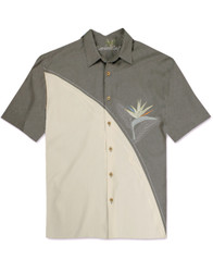 Crescent BOP Embroidered Polynosic Camp Shirt by Bamboo Cay - Grey WB5