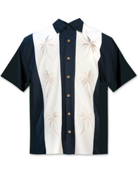 Paneled Palms Embroidered Polynosic Camp Shirt by Bamboo Cay - Navy WB2002RE