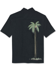 Hidden Palm Embroidered Camp Shirt by Bamboo Cay - WB906 - Black
