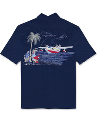 Catch of the Day Embroidered Camp Shirt by Bamboo Cay -WB9000 - Navy