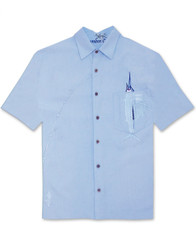 Shake the Hook Embroidered Camp Shirt by Bamboo Cay - WB871 - Chalk Blue
