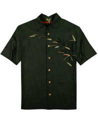 Bamboos On The Loose Embroidered Camp Shirt by Bamboo Cay - WB873 - Raven