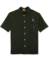 Shake the Hook Embroidered Camp Shirt by Bamboo Cay - WB871 - Black