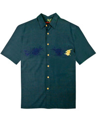 Lonely Pineapple Embroidered Polynosic Camp Shirt by Bamboo Cay - Navy WBS800