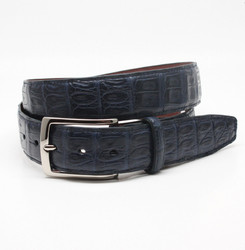 South American Caiman Belt by Torino Leather - Navy