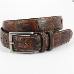 South American Caiman Belt by Torino Leather - Vintage Cognac