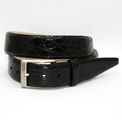Glazed South American Caiman Belt by Torino Leather - Black