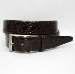 Glazed South American Caiman Belt by Torino Leather - Brown