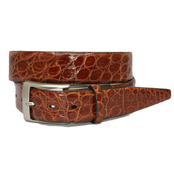 Glazed South American Caiman Belt by Torino Leather - Cognac