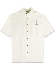Shake the Hook Embroidered Camp Shirt by Bamboo Cay - WB871 -Off Wht