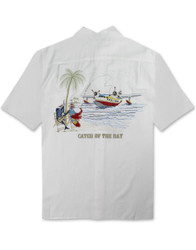 Catch of the Day Embroidered Camp Shirt by Bamboo Cay - Off White