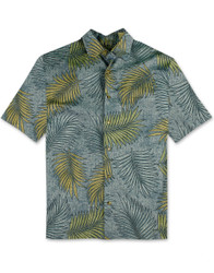 All Over Leaves Cotton Sateen Shirt by Bamboo Cay - CM100 - Blue Dream