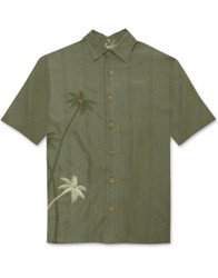 Elevated Palms Embroidered Polynosic Camp Shirt by Bamboo Cay - WB700 - Olive