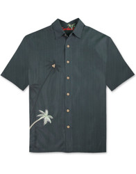 Elevated Palms Embroidered Polynosic Camp Shirt by Bamboo Cay - WB700 - Black
