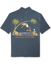 Toucan Lounge Embroidered Polynosic Camp Shirt by Bamboo Cay - WB9500 - Navy