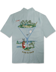 Par and Bar Embroidered Camp Shirt by Bamboo Cay - WB777 - Aqua