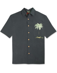 Peekaboo Palm Embroidered Camp Shirt by Bamboo Cay - WB630 - Black