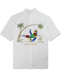 Always Five O'Clock Embroidered Camp Shirt by Bamboo Cay - WB5000 - Off White