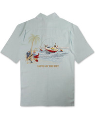 Catch of the Day Embroidered Camp Shirt by Bamboo Cay - WB9800 - Aqua