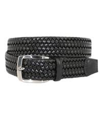 Italian Woven Cotton and Leather Stretch Belt by Torino Leather - Black