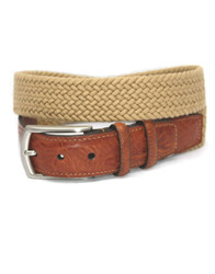 Italian Woven Cotton Stretch Belt by Torino Leather - Camel