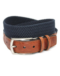 Italian Woven Cotton Stretch Belt by Torino Leather - Navy