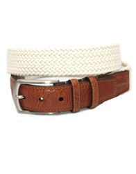 Italian Woven Cotton Stretch Belt by Torino Leather - Cream