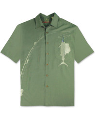 Shake the Hook Embroidered Camp Shirt by Bamboo Cay - WB871 - Ocean