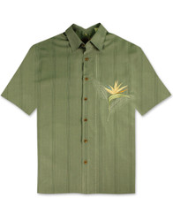 All Star Bird of Paradise Embroidered Polynosic Camp Shirt by Bamboo Cay - Ocean