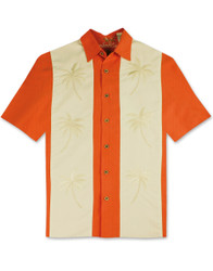 Paneled Palms Embroidered Polynosic Camp Shirt by Bamboo Cay - Salmon