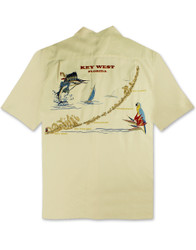 Exploring Key West Embroidered Polynosic Camp Shirt by Bamboo Cay - Cream
