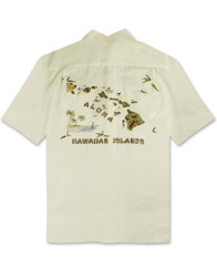 Aloha Islands Embroidered Polynosic Camp Shirt by Bamboo Cay - Off Wht