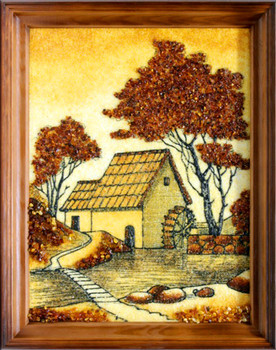 This magnificent original piece of framed artwork produced by our professional artist is decorated with the finest handpicked amber; the amber is aged between 30 -40 million years old from the Baltic. Well designed and unique. The size is the size of the artwork alone. The wooden frame comes with hooks and string attached.  100% of the painting surface is covered with the finest amber.  Please feel free to contact us for further information